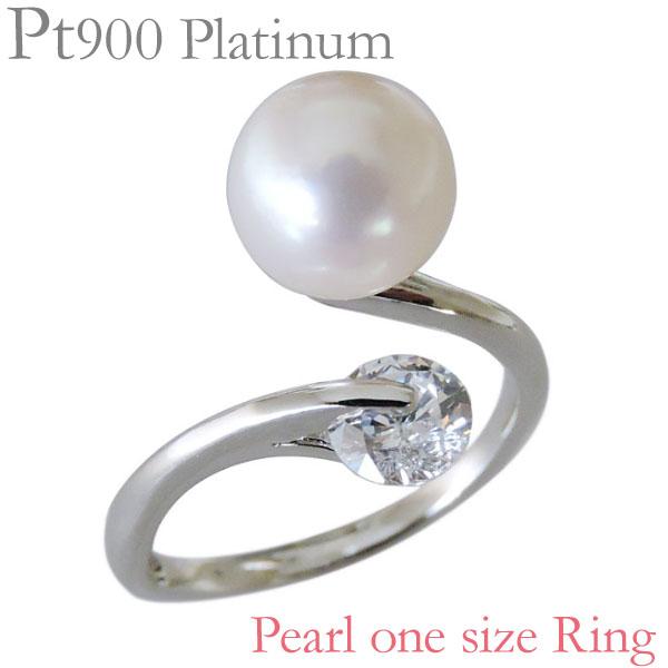指輪 あこや本真珠 キュービックジルコニア PT900プラチナ 8mm リング レディース アコヤ あこや pearl プレゼント 贈答 ジュエリー 保証書付 送料無料