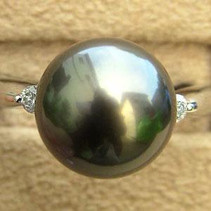 真珠 リング PTプラチナ タヒチ黒蝶真珠けダイヤモンド 指輪
