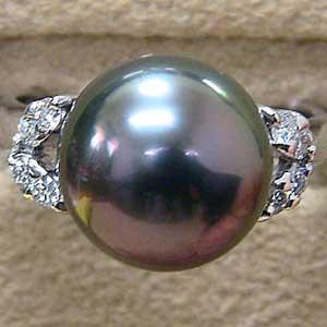 真珠リング 11mm PT900 プラチナ タヒチ黒蝶真珠