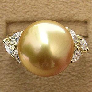 真珠 リング ダイヤモンド パール ゴールド系 13mm 18金 K18 指輪 南洋白蝶真珠 普段使い