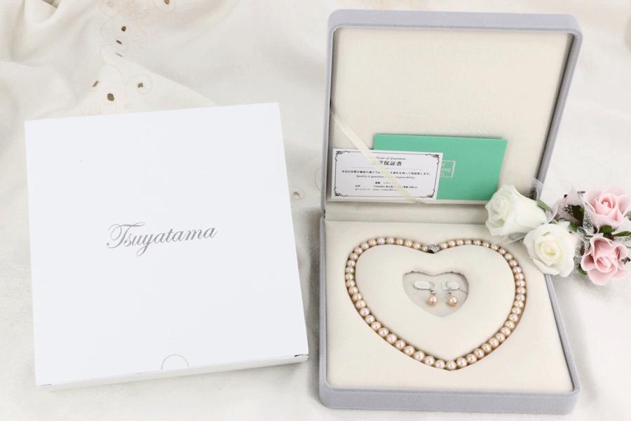 送料無料 パールネックレス ピンクカラー 本真珠ネックレス&ピアスorイヤリングセット 7.5-8.0mm (フォーマル 結婚式 卒業入学 冠婚葬祭 七五三)