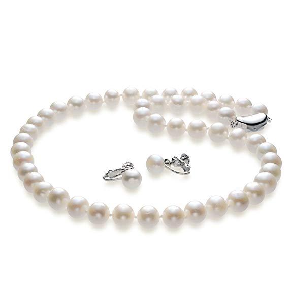 送料無料 ゆったり50cm 大粒10mm珠使用 つやたま 本真珠ネックレス&ピアスorイヤリングセット  (フォーマル 結婚式 卒業入学 冠婚葬祭 七五三)