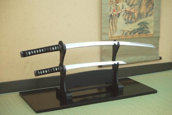 模造刀 美術刀 マーブル 赤セット(大刀・小刀・二本掛台セット)