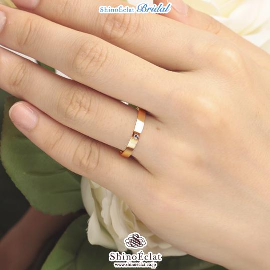 Shino Eclat K18rose Gold Wedding Band Flat 3mm With Diamond 0 02ct
