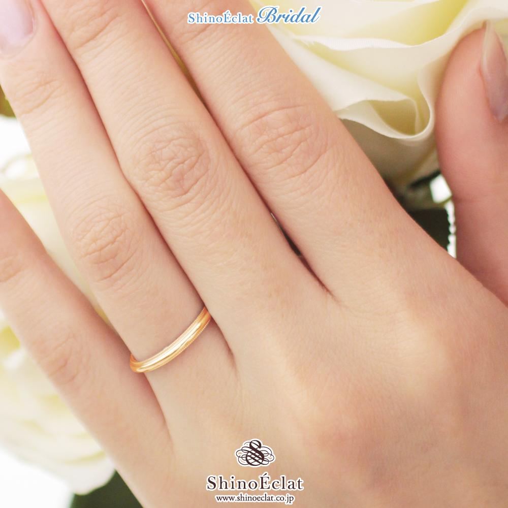 hot sale online 1874b bddfd 結婚指輪 K18 RG(ローズゴールド) ミルグレイン・マリッジリング 2mm鍛造 ミル打ち 刻印無料 gold リング 指輪 ring  ピンクゴールド|Shino Eclat(シノエクラ)