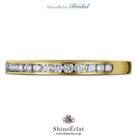 婚約指輪 プラチナ Pt950 一粒ダイヤモンド エンゲージリングK18YG(鍛造)イエローゴールド チャネルセッティング ダイヤモンド ハーフエタニティリング
