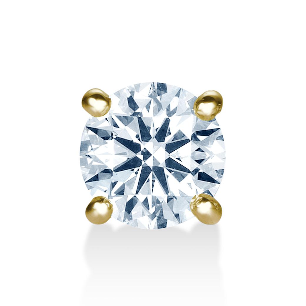 """10%OFF! 楽天スーパーセール  9/4 20:00から 片側のみ K18 一粒ダイヤモンドピアス """"Enchante(アンシャンテ)"""" 【片側】0.5ct G SI1 3EX H&C ソーティングメモ付一粒石 ピアス ハートアンドキューピット  0.5カラット 一粒ダイヤ diamond pierce"""