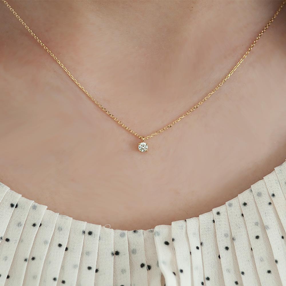 ネックレス>ダイヤモンドネックレス>K18 一粒ダイヤモンドネックレス アンシャンテ 0.1ct G SI