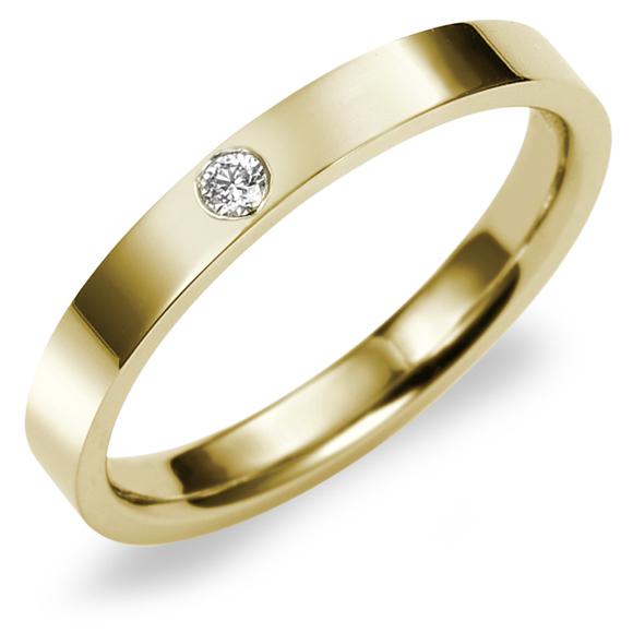 結婚指輪 K18 YG(イエローゴールド) フラット・ダイヤモンド マリッジリング 2.5mm鍛造 平打ちタイプ 刻印無料 リング 指輪 ring
