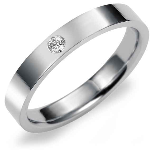 結婚指輪 K18 WG(ホワイトゴールド) フラット・ダイヤモンドマリッジリング 3mm鍛造 平打ちタイプ 刻印無料 リング 指輪 ring