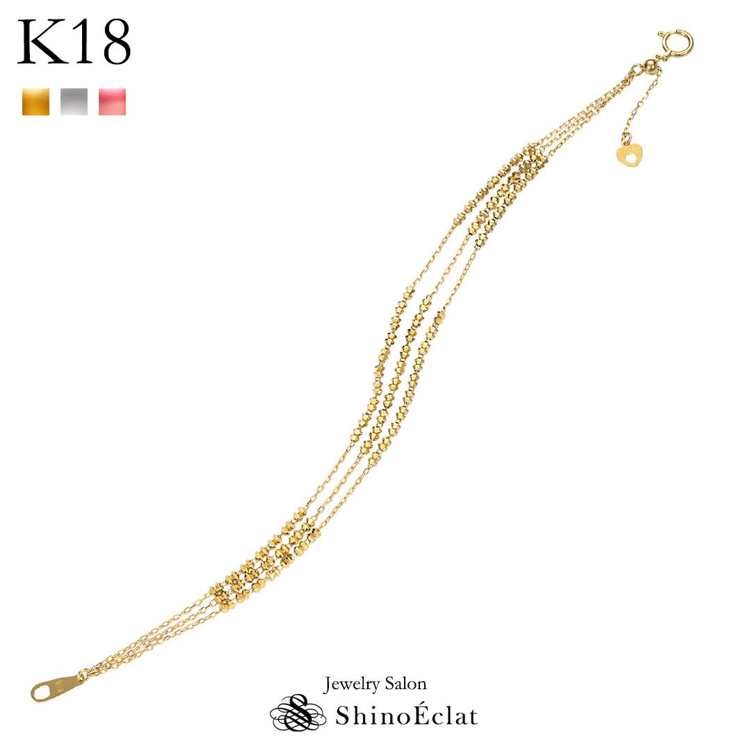 K18 ブレスレット Brillant(ブリアン) 3連 チェーン 18k 18金 yg ゴールド ブレスレット レディース 送料無料 bracelet gold ladies ブレスレット ブレス