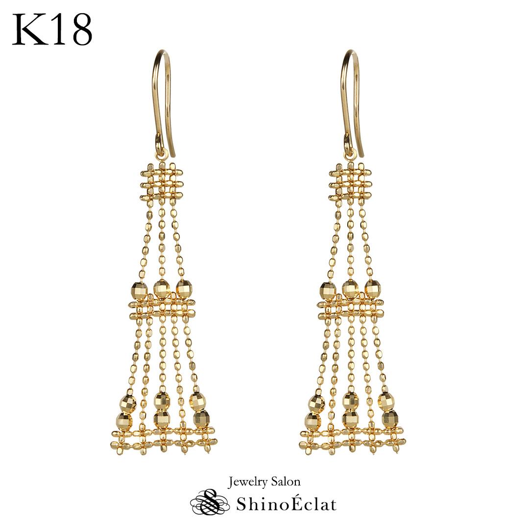K18 ゴールド ピアス Eiffel (エッフェル) ロング チェーン 揺れる ダイヤ ピアス 18k 18金 ゴールド ピアス レディース diamond pierce gold 大人 上品 シンプル おしゃれ かわいい 可愛いピアス 人気 プレゼント 送料無料
