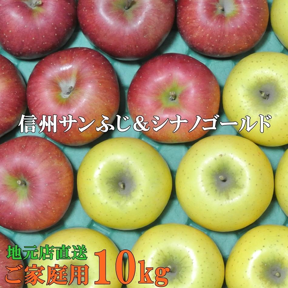 訳ありご家庭用10キロ 大人気のサンふじりんごと人気上昇中のシナノゴールドりんごを贅沢にミックス 信州りんご 訳ありご家庭用10kg地元店直送りんご 高い素材 世界の人気ブランド サンふじ シナノゴールド