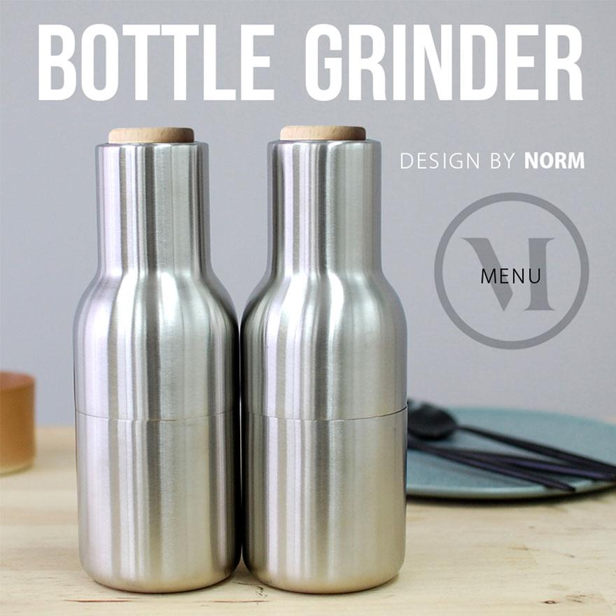 menu Bottle Grinder/ボトルグラインダー オールステンレス スモールメニュー デザイン/Normペッパーミル/ソルトミル/グラインダー/調理器具/ステンレス/セラミック コンビニ受取対応