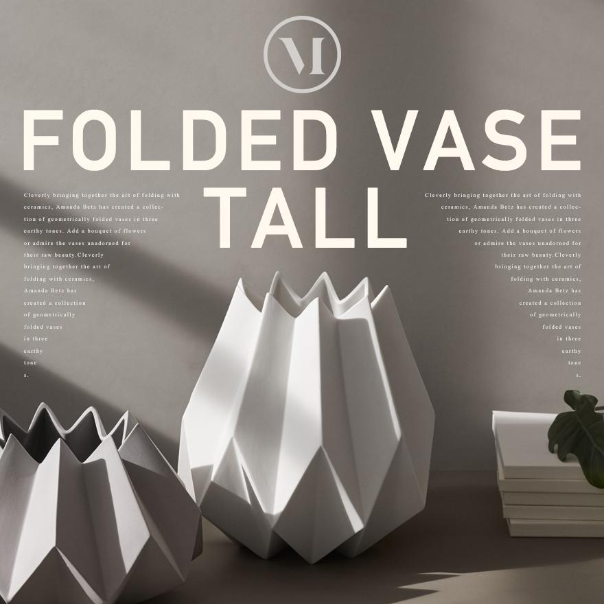 menu Folded Vase/メニュー フォールデッドベース トールタイプ メニュー デザイン/Amanda Betz/4764129/4764639/フラワーベース/花瓶/セラミック/花器/カーボン【コンビニ受取対応商品】