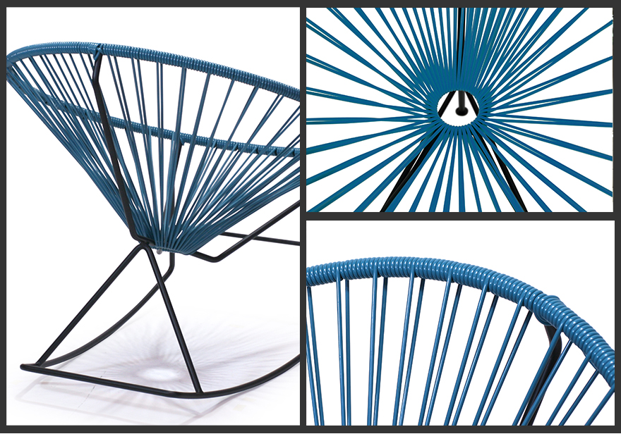 PVC cord chair / chair / chair / outdoors / resort / handmade product lounge / modishness / interior made in Acapulco/ Acapulco chair Rocking Chair/ rocking chair outdoor garden chair indoor & outdoors combined use Mexico