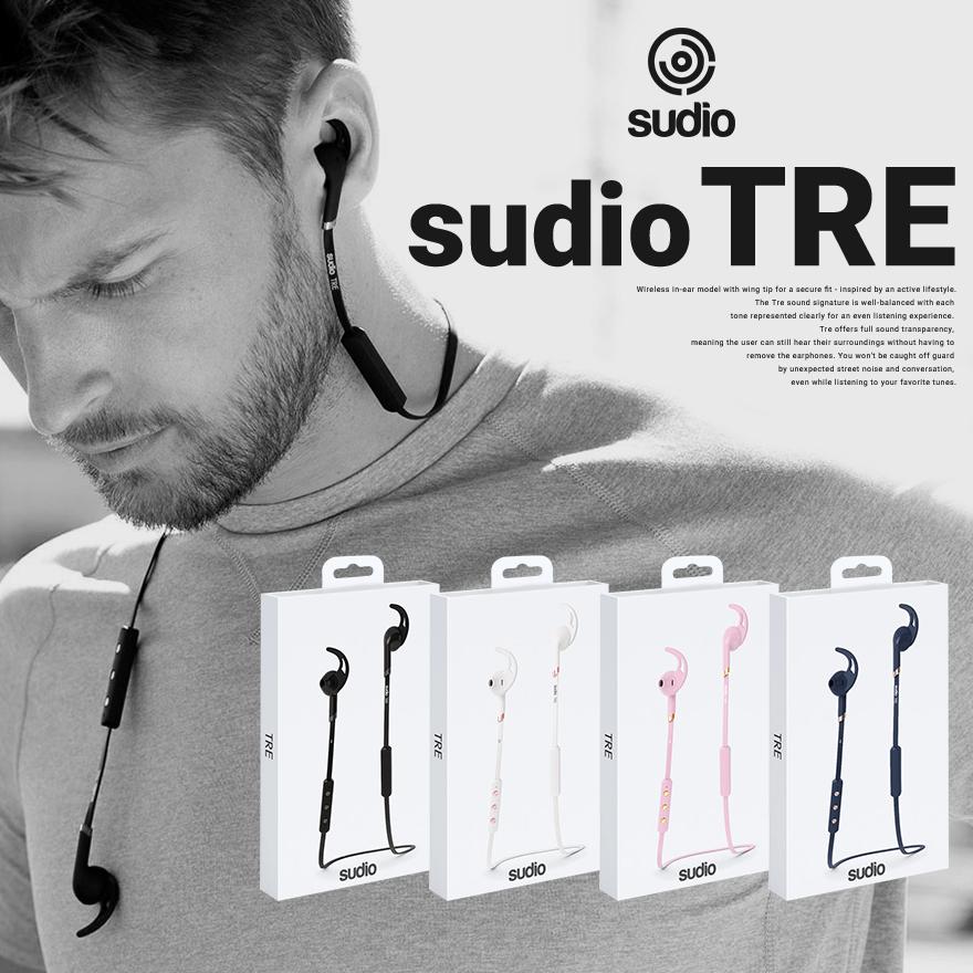 Sudio スーディオ Sudio TRE ワイヤレスイヤフォンBluetooth対応/イヤホン/ダイナミック型/密閉型/ウィングタイプ【コンビニ受取対応商品】