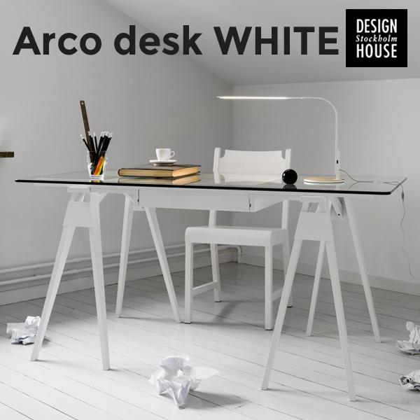 ●●【代引き不可】【Design House Stockholm/デザインハウス ストックホルム】Arco desk white ホワイトChuck Mack/テーブル/ダイニングテーブル/机/北欧/家具 【代引き不可】