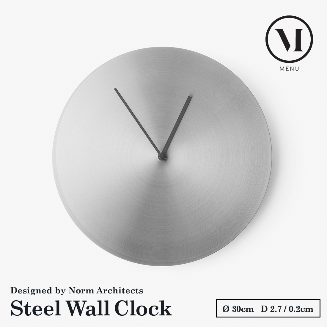 【menu】Norm Wall Clock Steel ノームウォールクロック ステンレス スチール時計 壁掛け時計 ウォッチ【コンビニ受取対応商品】