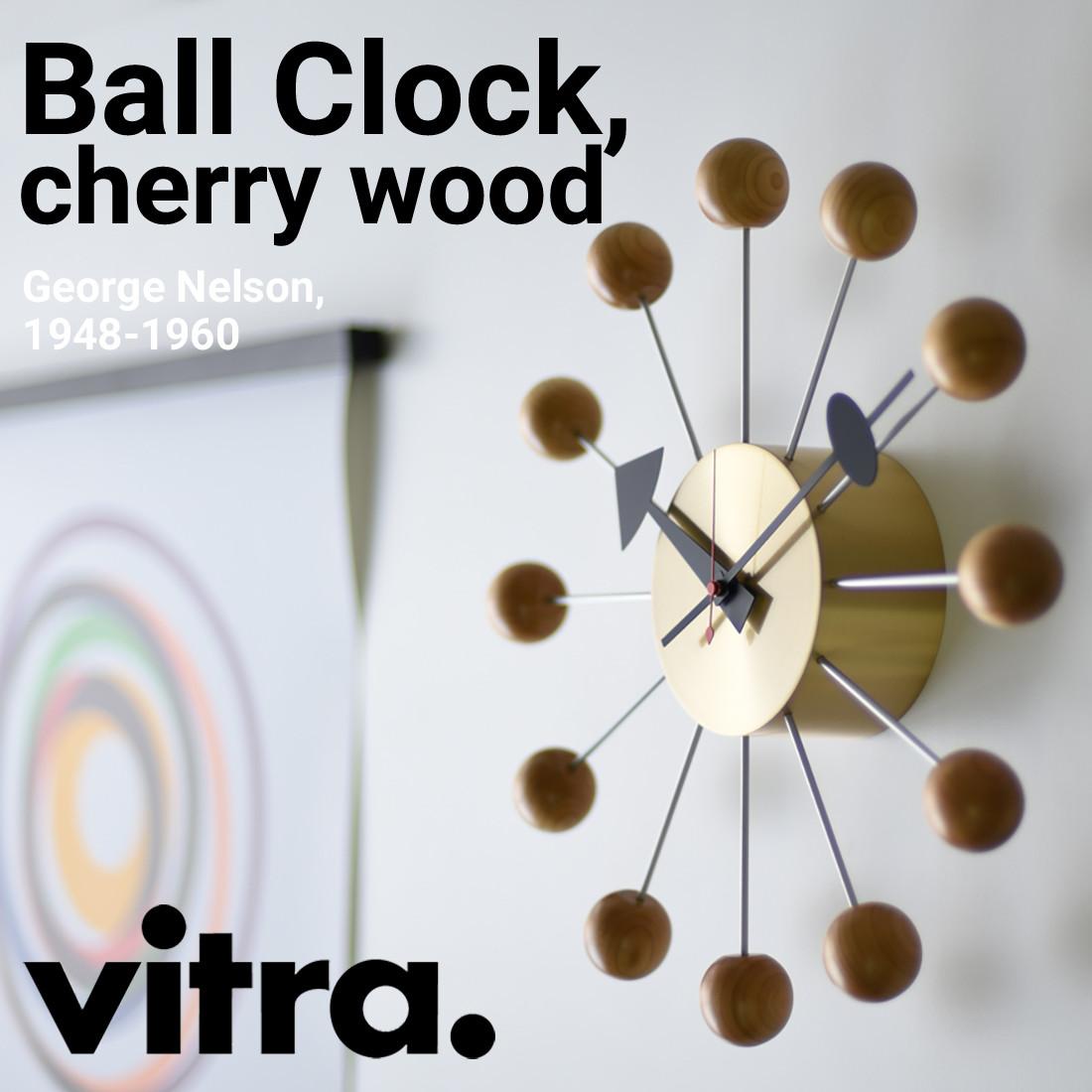 【Vitra】Ball Clock Cherry wood 高品質クオーツ時計式ムーブメン トボールクロック/チェリー/ウッド/ヴィトラ/掛け時計/クロック/木製/ジョージ・ネルソン/George Nelson