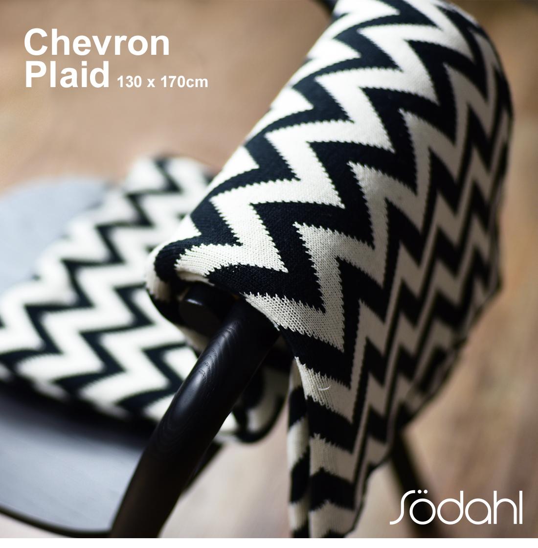 Sodahl ソダール ジェブロン ニット chevron plaid スローブラック 約130x170cmファブリック/ブランケット/コットン/ひざかけ/デンマーク コンビニ受取対応