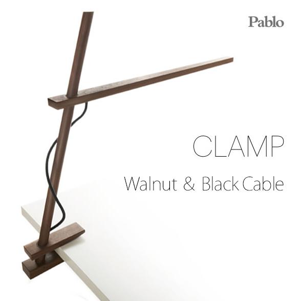 CLAMPクランプLEDデザインデスクライト「Pablo社」が手がける ウォールナット & ブラックケーブル 木製のデスクライト Pablo パブロ