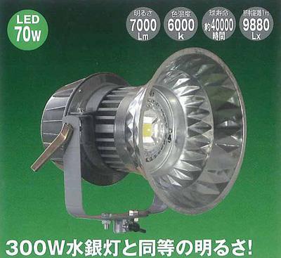 【店舗クーポン発行中】【日動工業】LEDメガライト【投光器式】LEN-70PE-D-5ME【P5】【W3】