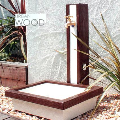 【トーシンコーポレーション】立水栓ユニット URBANWOOD アーバンウッド SC-WW-BC 《パン付き SC-WW-DS》《補助蛇口共用》 立水栓 水栓柱 全2色【パンセット】