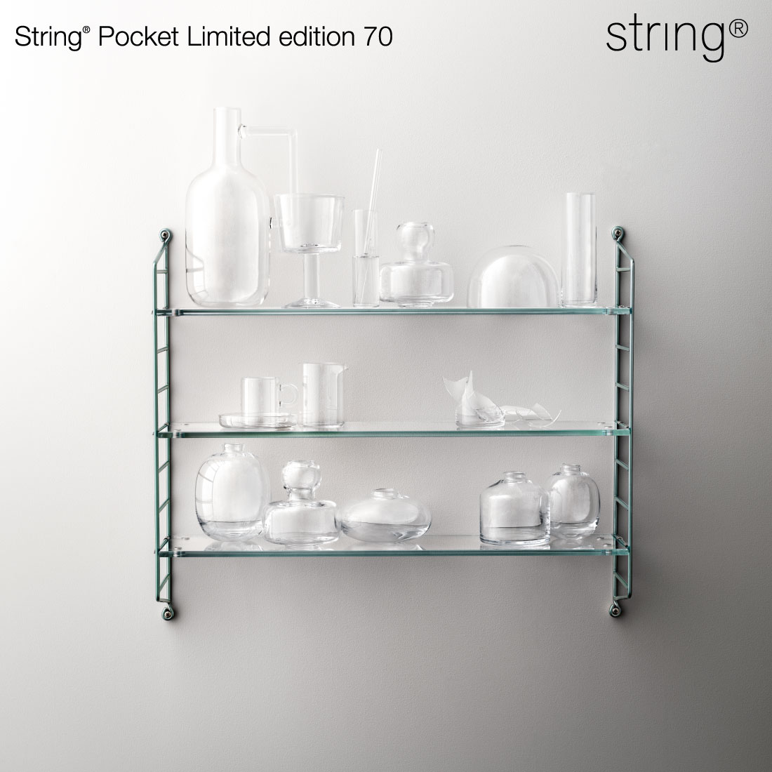【String/ストリング】String Pocket 70周年リミテッドエディション/String Pocket Limited Edition 70/ニルス・ストリニング/マッツ・テセリウス/ストリングポケット/ガラス製/シェルフ/棚/リビング/ストリングシェルフ/収納/本棚