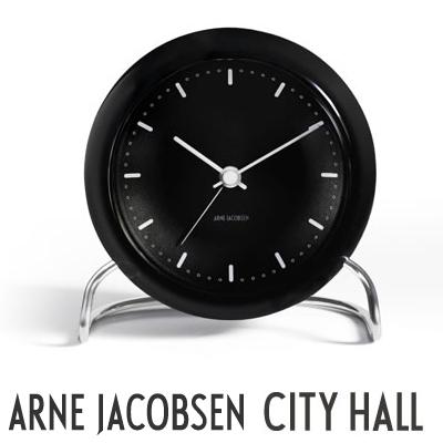 【AJクロック】CITYHALL/110mm 43673 TABLE CLOCK シティーホール アルネ・ヤコブセン/ARNE JACOBSEN43673置き時計/目覚まし時計/ウォッチ/WATCH/北欧/デンマーク コンビニ受取対応