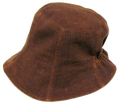 日本製 伝統工芸品 久留米絣コットン製 レディース キャップシンプル帽子 久留米絣 帽子チューリップ型 後ろゴム付き 絣と泥染め