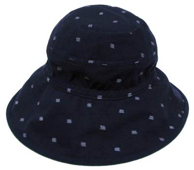 日本製 伝統工芸品 久留米絣コットン製 レディース キャップ久留米絣 帽子つば広帽子 紺色