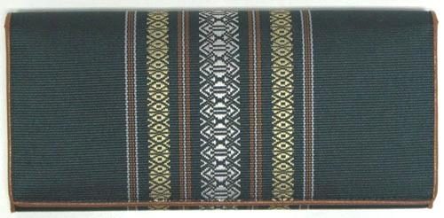 福岡県伝統工芸品博多織財布 献上柄長財布 緑色