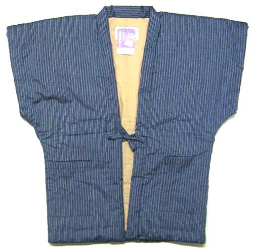 日本製 福岡県 日本のよそおい久留米織 手づくり紳士用 男性用 半そで半纏(半天) 袢天半袖 袖無なしちゃんちゃんこ綿入り 袖なし半天 はんてん どてらメンズ グレー・灰色 縞柄