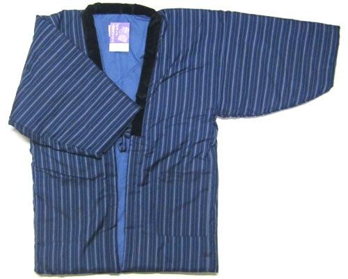 日本製 日本のよそおい福岡県 久留米織 手づくり紳士用 半纏(半天) 袢天長袖 男性用 ちゃんちゃんこ綿入り 半天 はんてん どてらメンズ 青色 縞柄