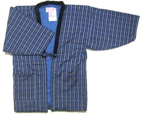 日本製 日本のよそおい福岡県 久留米織 手づくり紳士用 半纏(半天) 袢天長袖 男性用 ちゃんちゃんこ綿入り 半天 はんてん どてらメンズ 青色 黄白格子柄