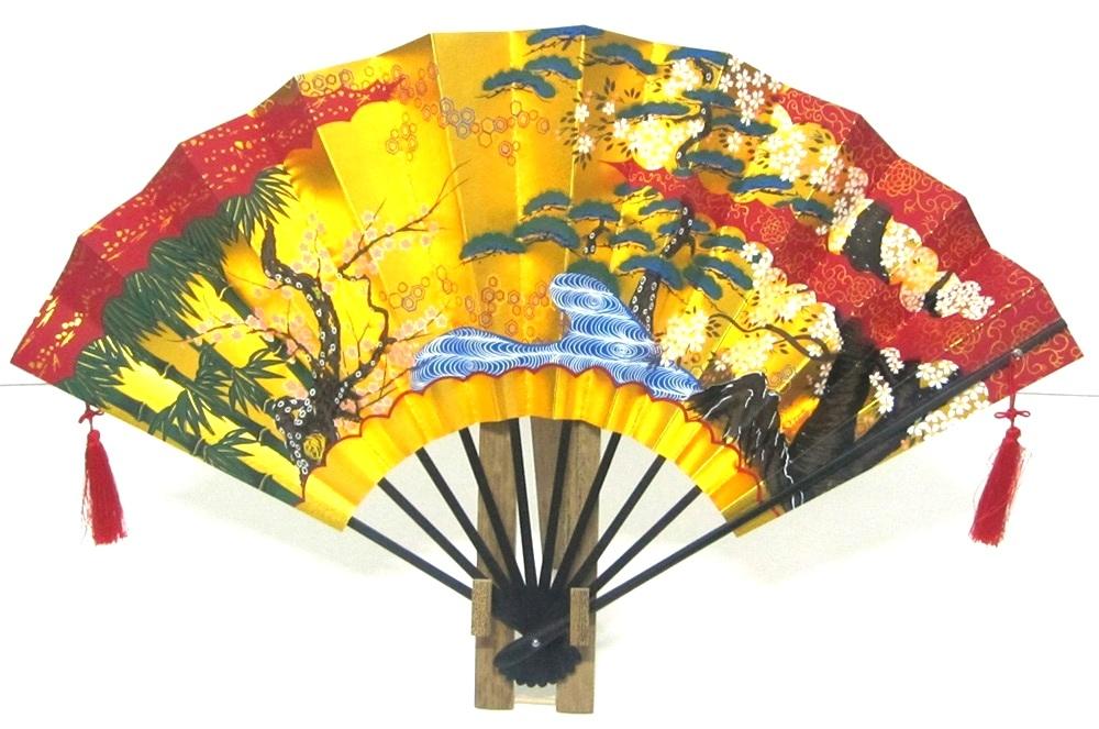 日本のお土産 日本の伝統飾り扇子 金地飾り扇子 日本扇子扇子 センス せんす金箔地黒骨 松竹梅(大)