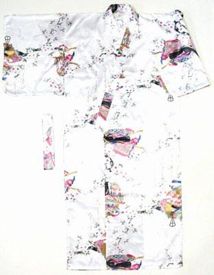 日本製 日本のお土産海外おみやげ 着物桜と平安貴族 白色