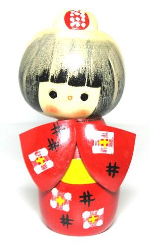 やすらぎの木の温もり 海外向けお土産 日本こけし人形 NEW ◆高品質 日本のお土産にも人気日本製 工芸品大谷作太郎作 民芸品 こけし 紅かすり