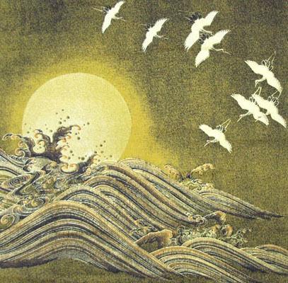日本製 綿布物 名物裂風呂敷 クロス タペストリー蒔絵(まきえ) Japan荒磯に日輪写し