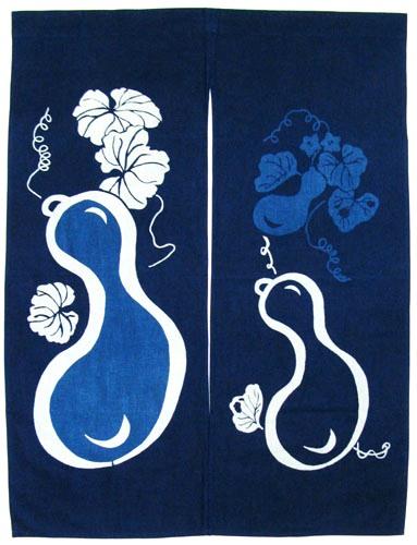 日本和風インテリア レイアウト海外向けおみやげ 徳島県天然藍染のれん 縁起物瓢箪暖簾 【送料無料】