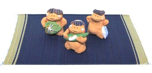和風インテリア 宮崎県 手びねり手作り 土人形 のさり人形かっぱ カッパ 河童三体セット
