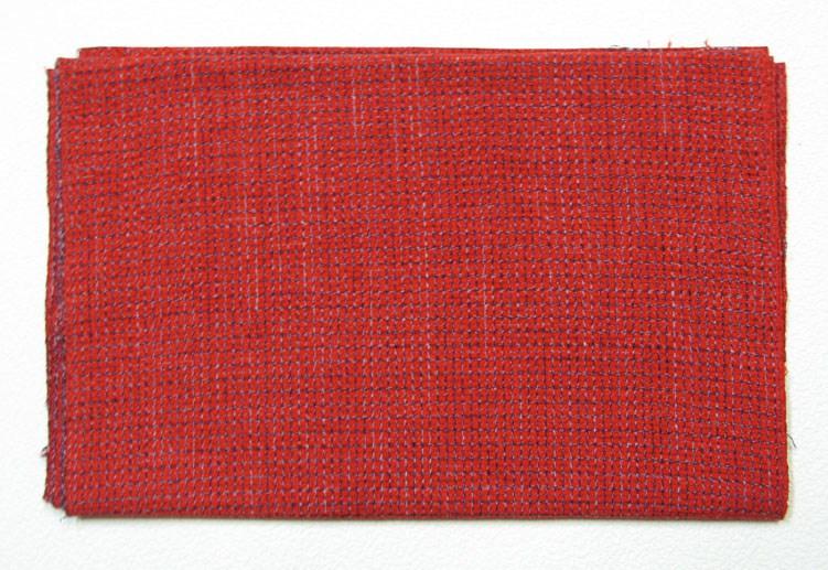 福岡県伝統工芸品 久留米絣かすり 反物 絣 生地手作り 半反(6m)布地水通し済み 格子柄赤色
