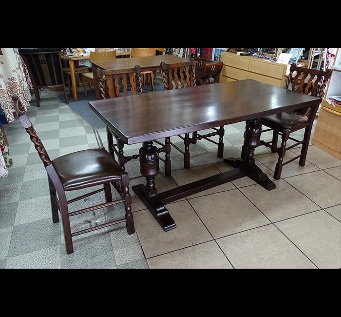 【1セット限り】イギリス製 アンティーク家具 ダイニング5点セット食卓 テーブル 椅子 イギリス 英国【送料無料(開梱設置サービス)】北海道・沖縄・離島の場合は別途送料お見積り