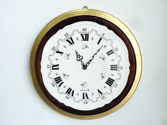 【送料無料!!】【即納可!!】再入荷しました♪イタリア製 陶板 壁掛け 時計ウォールクロック 花柄