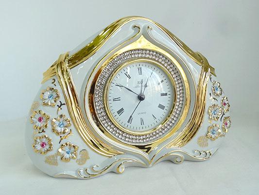 【送料無料!!】【即納可!!】新入荷しました♪イタリア製 サバディン社 時計 スワロフスキー付Sabadin Vittorio 置時計 クロック ゴールド ホワイト