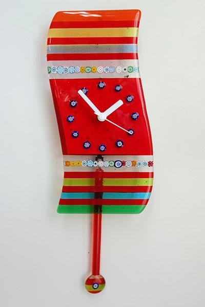 【送料無料!!】【即納可】再入荷しました♪イタリア製 ベニス 振り子 壁掛け 時計 レッドベネチア ベネチアン ガラス グラス