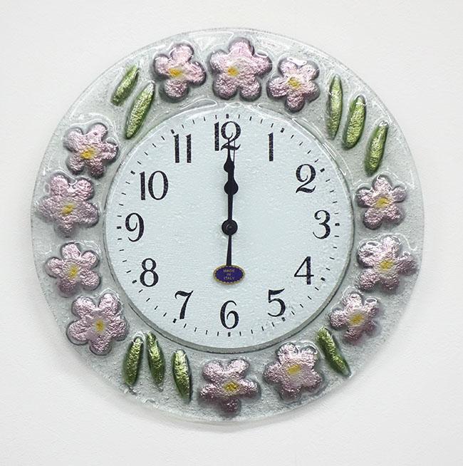 【即納可】【送料無料】再入荷しました♪イタリア製 ガラス製 壁掛け時計 花柄 ピンク 桃色