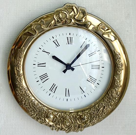 【送料無料!!】【即納可!!】新入荷しました♪イタリア製 真鍮 掛け時計 アンティーク調 ゴールドウォールクロック ブラス 金色