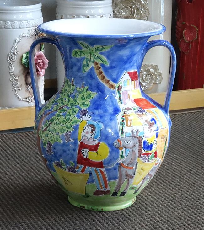 【即納可!!】【送料無料!!】新入荷しました♪イタリア製 陶器 傘立て つぼ型 壺型シチリア島 ラムーザ 馬 フラワー おしゃれ オシャレ